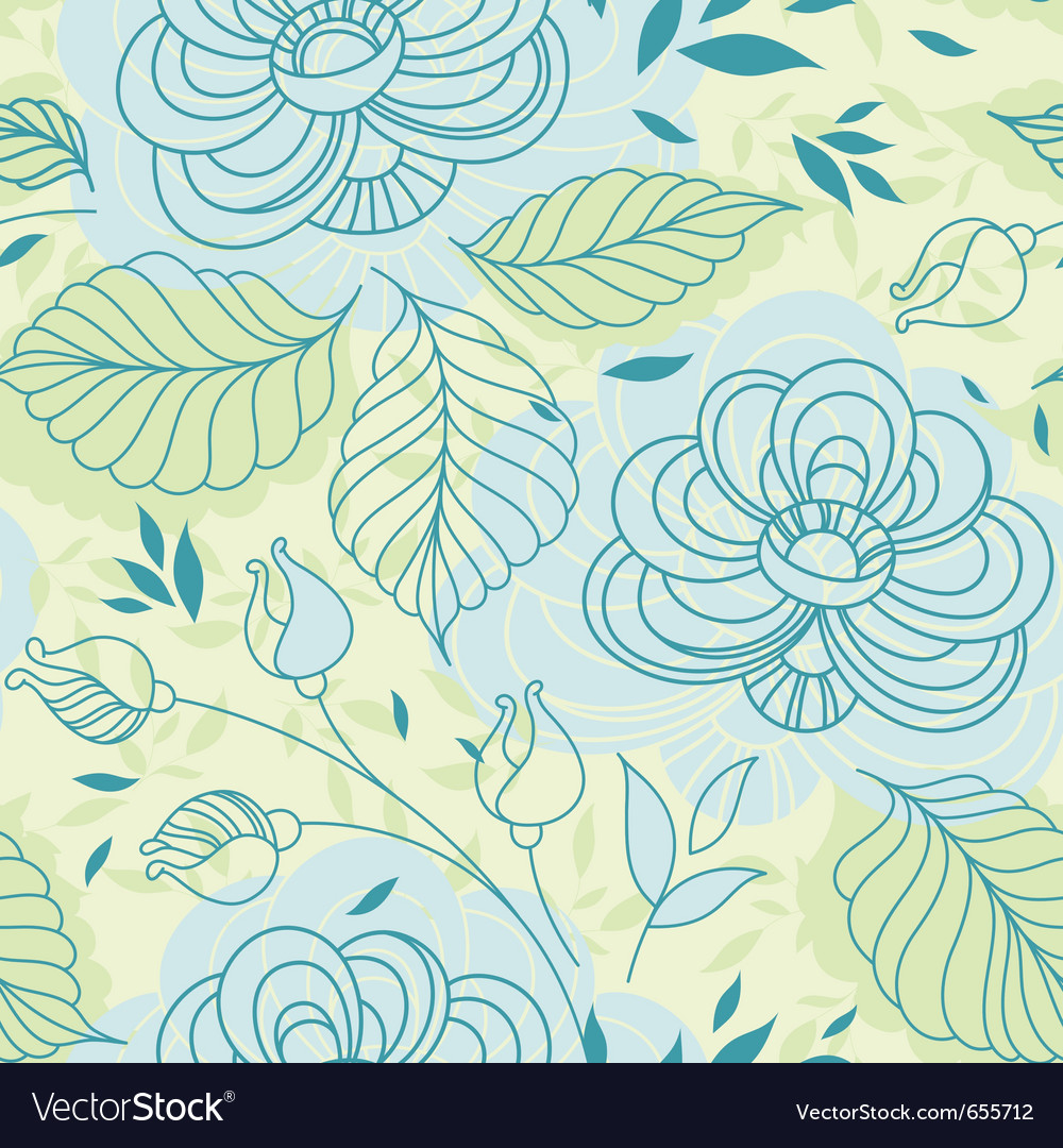 Blue Flowers Seamless Pattern Royalty Free Vector Image