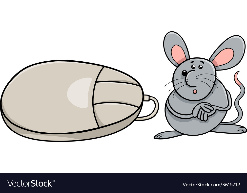 Computer mouse and real rodent cartoon vector image
