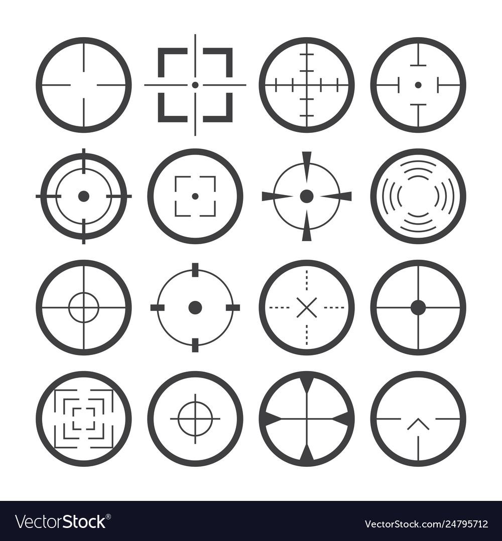 Cross hairs target symbols flat icons set
