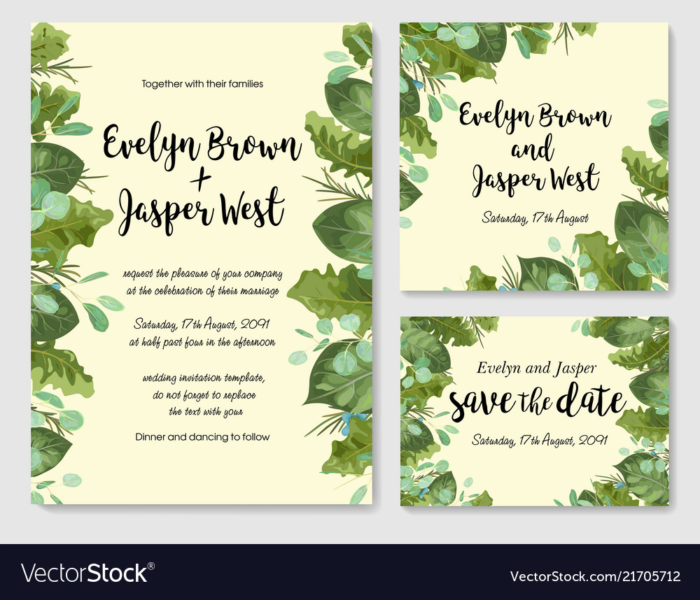Floral cute watercolor set template of wedding
