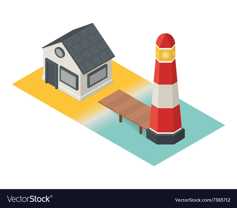 Isometric lighthouse Building 3d icon