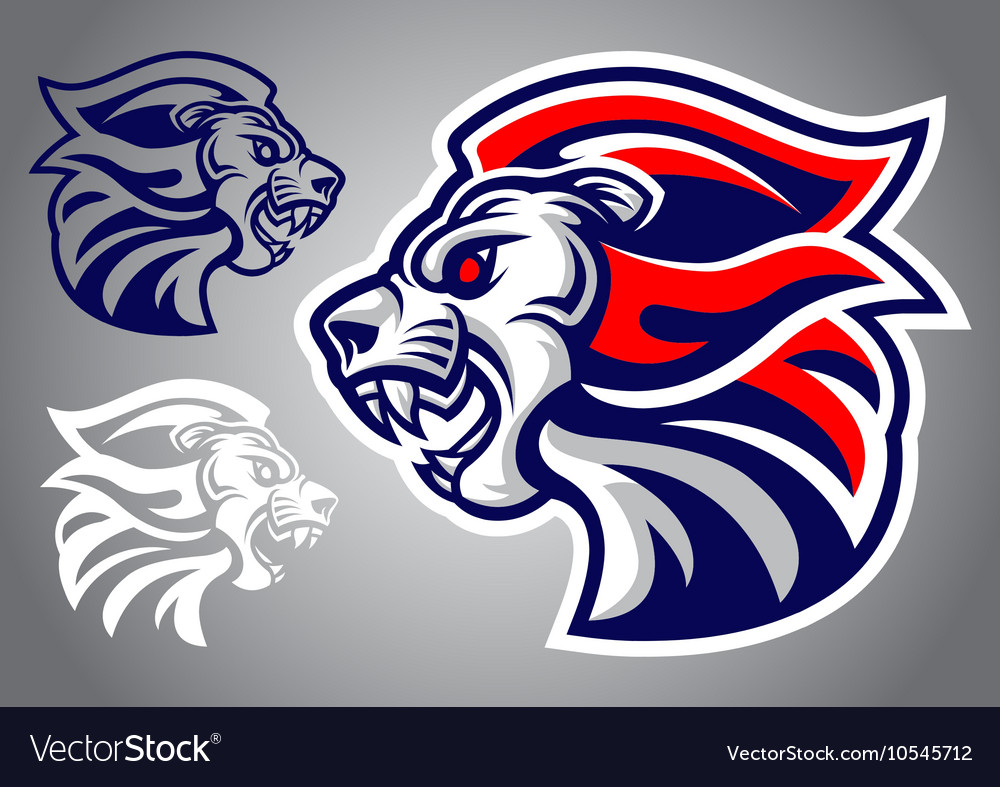 Lion blue red logo vector image