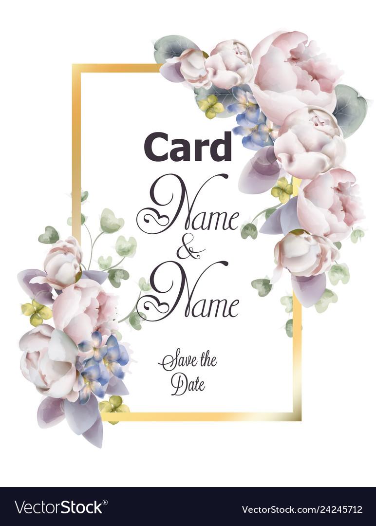 Peony flowers wedding card watercolor