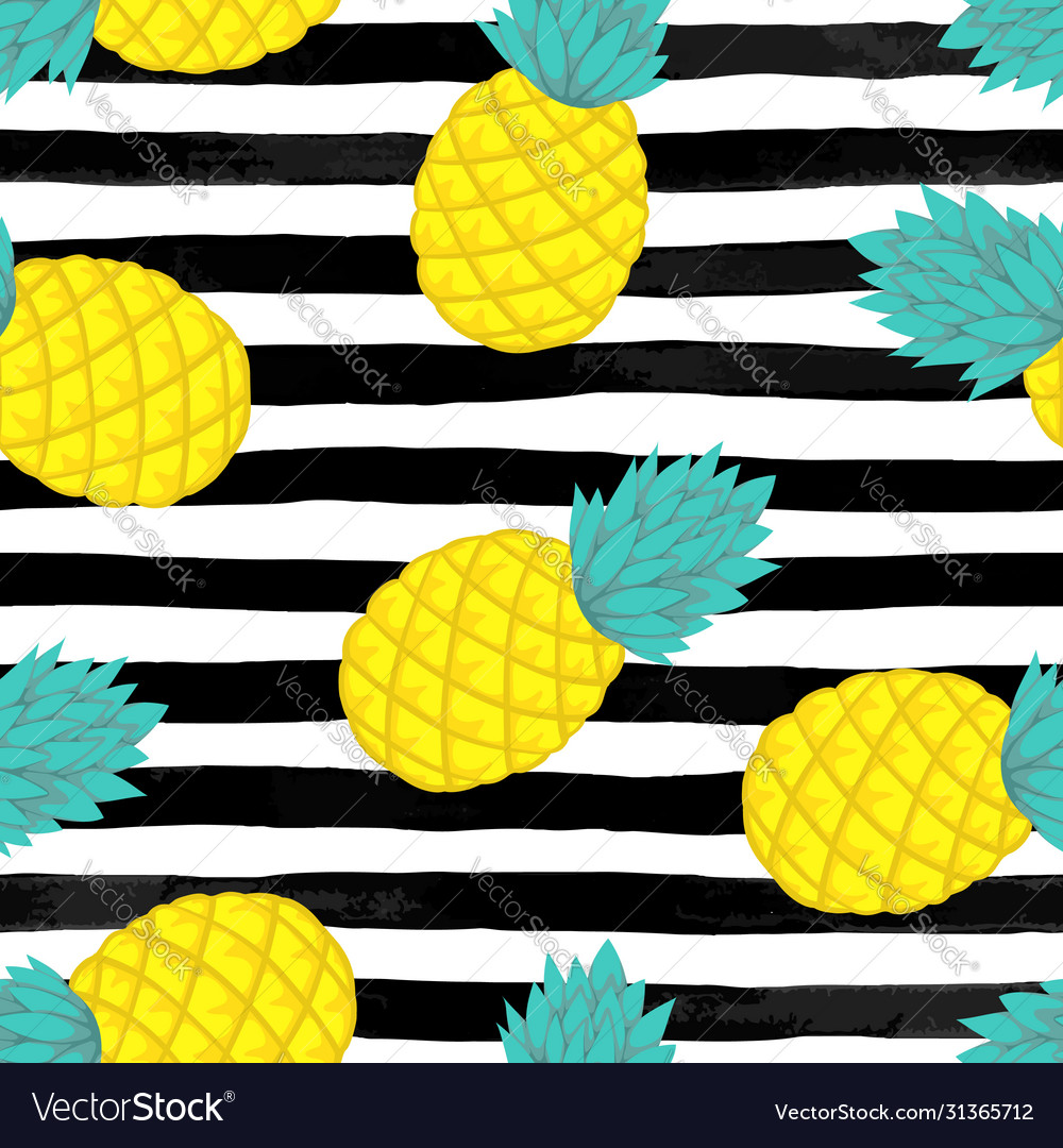 Seamless background with pineapple on black