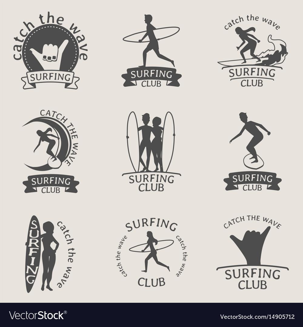 Set of surfing club logos