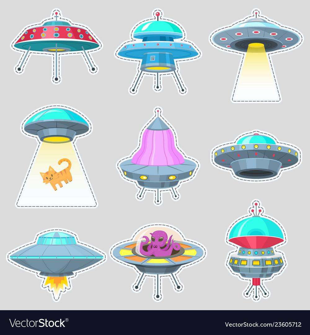 Set of ufo stickers alien spaceships