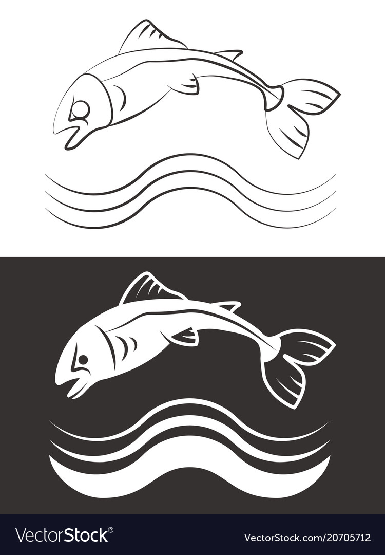 Silhouette and line fish with waves