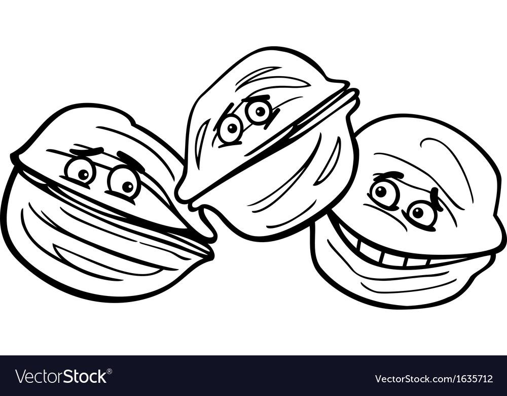 Walnuts cartoon coloring page