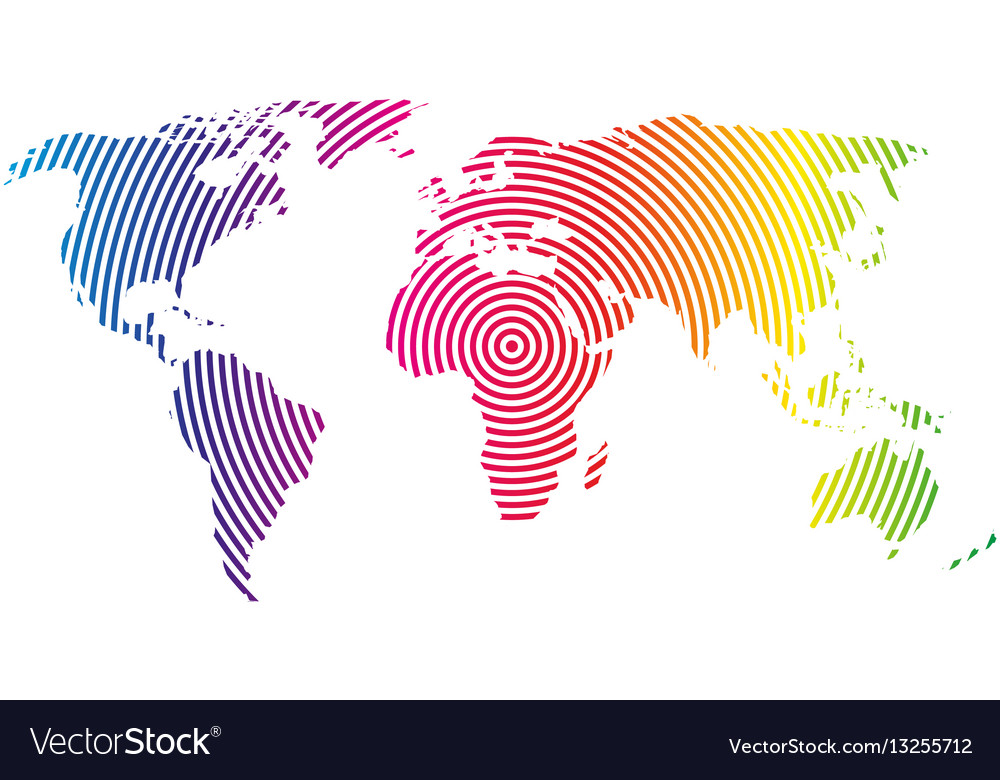 World map of rainbow spectre concentric rings on vector image gumiabroncs Gallery