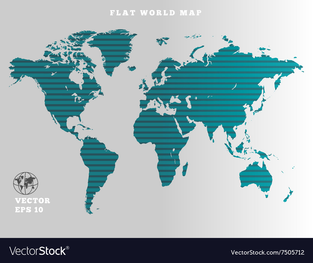 World map striped turquoise map silhouette on vector image gumiabroncs Images