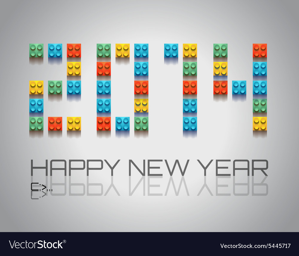 2014 New Year background with coloful plastic vector image