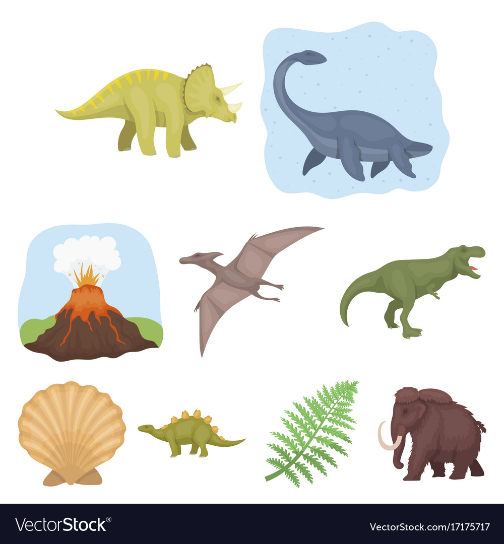 Image of: Shutterstock Vectorstock Ancient Extinct Animals And Their Tracks And Vector Image