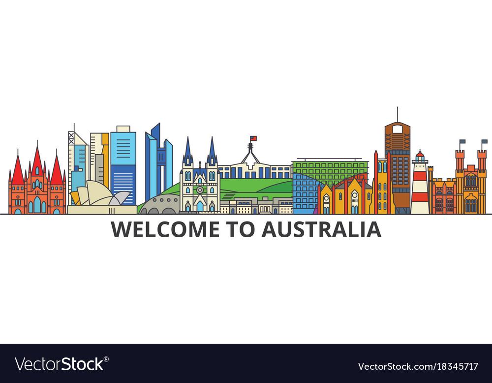 Australia outline skyline australian flat thin