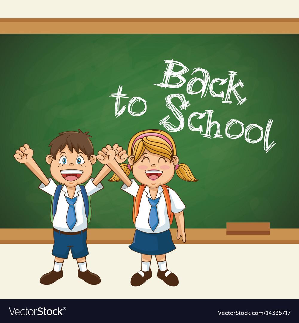 Back to school cute students uniform cheerful