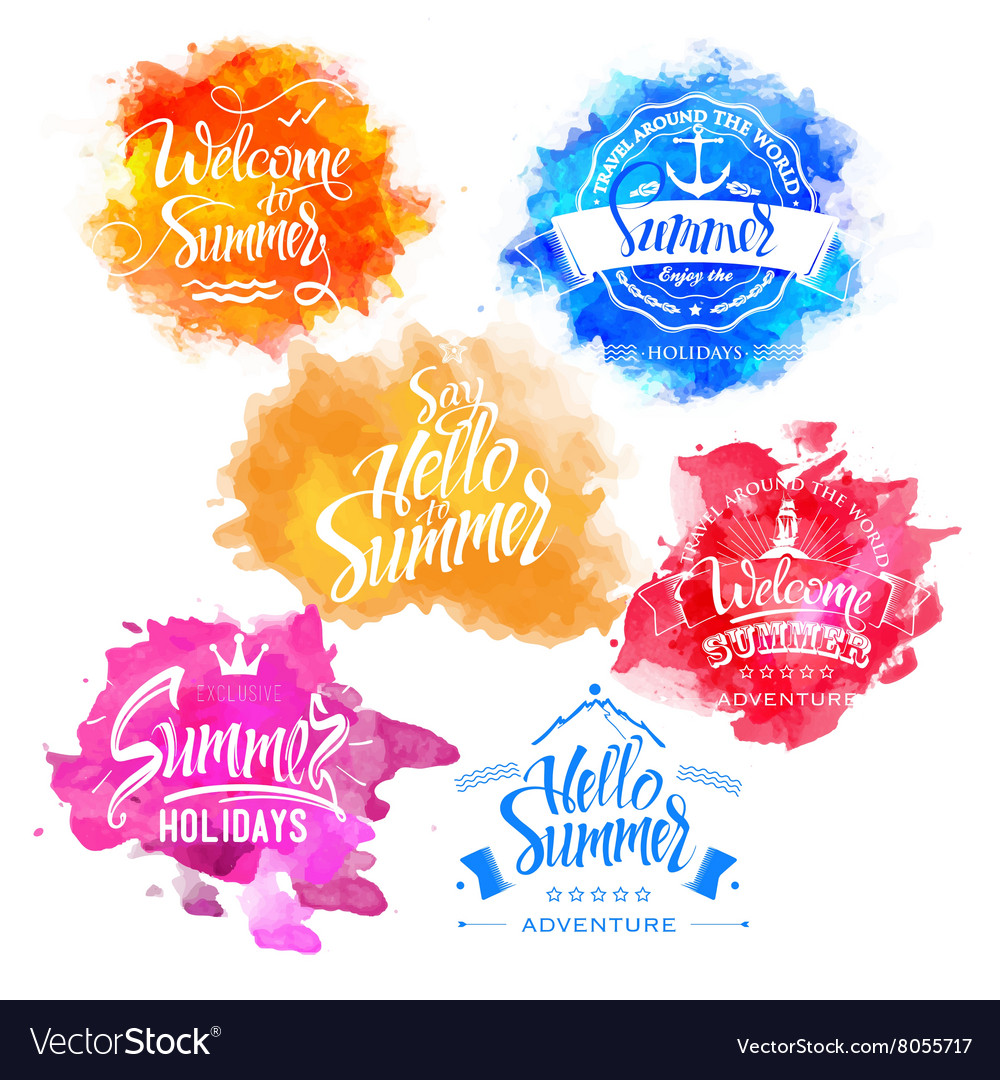 Collection of Summer and Holidays Labels
