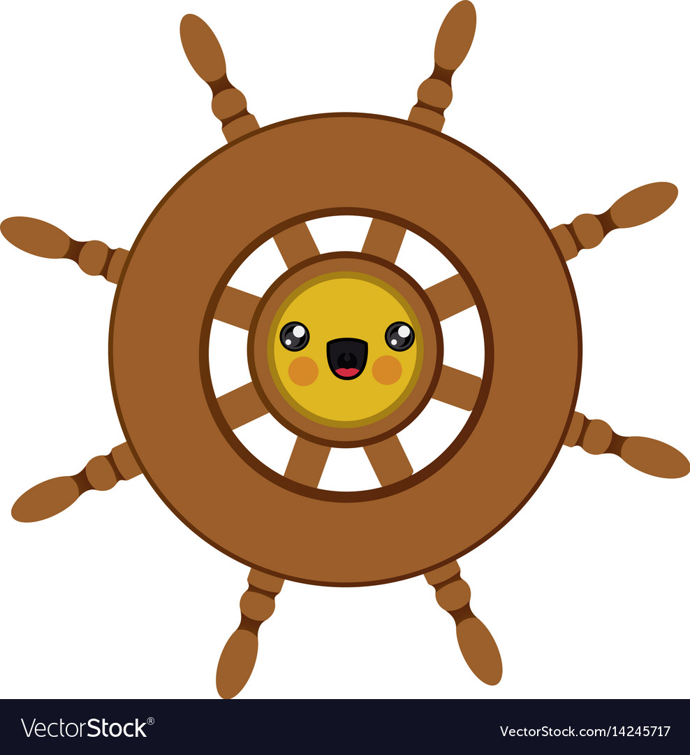 Colorful silhouette of cartoon boat helm vector image