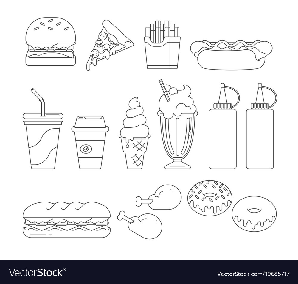 Fast food graphics outline Royalty Free Vector Image