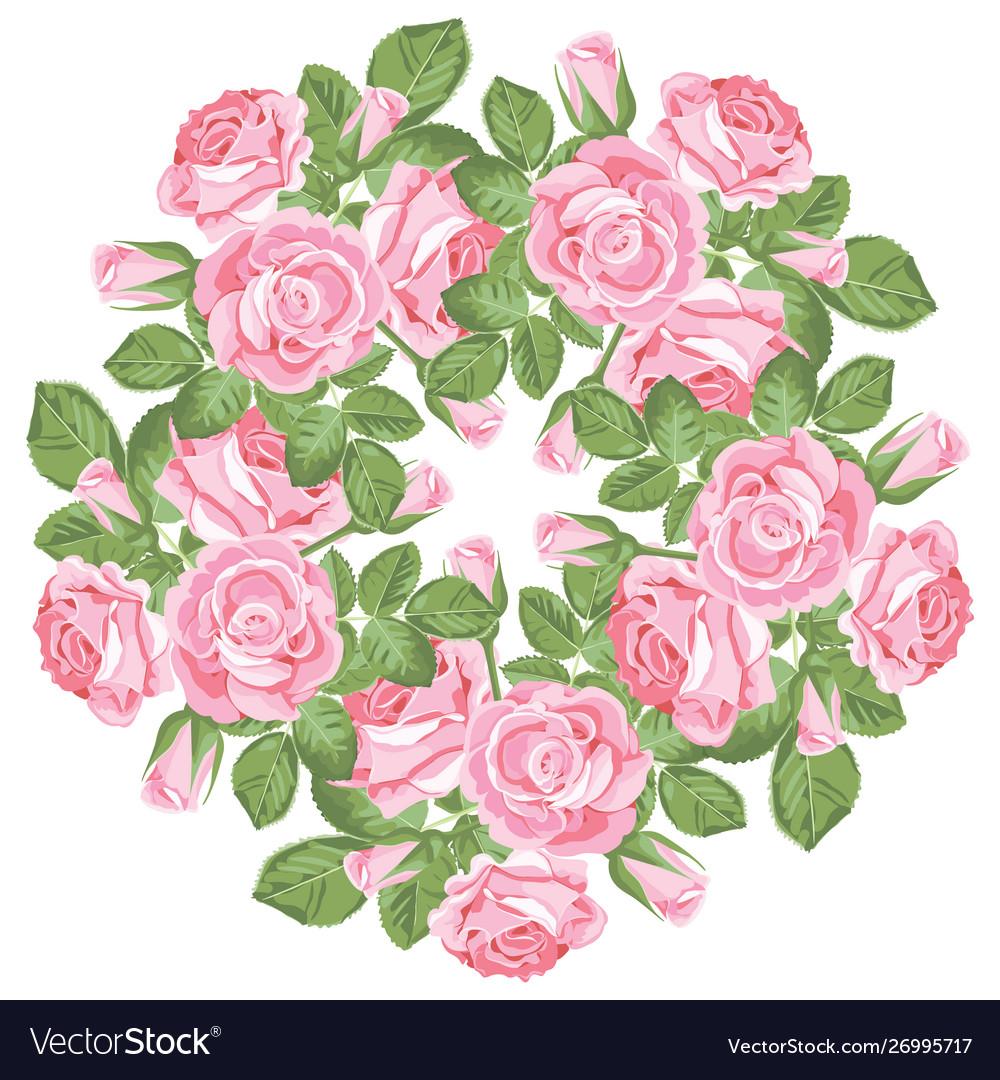 Floral round pattern on white background