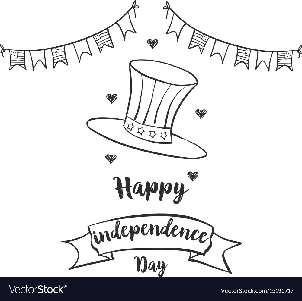 Happy independence day celebration hand draw vector image