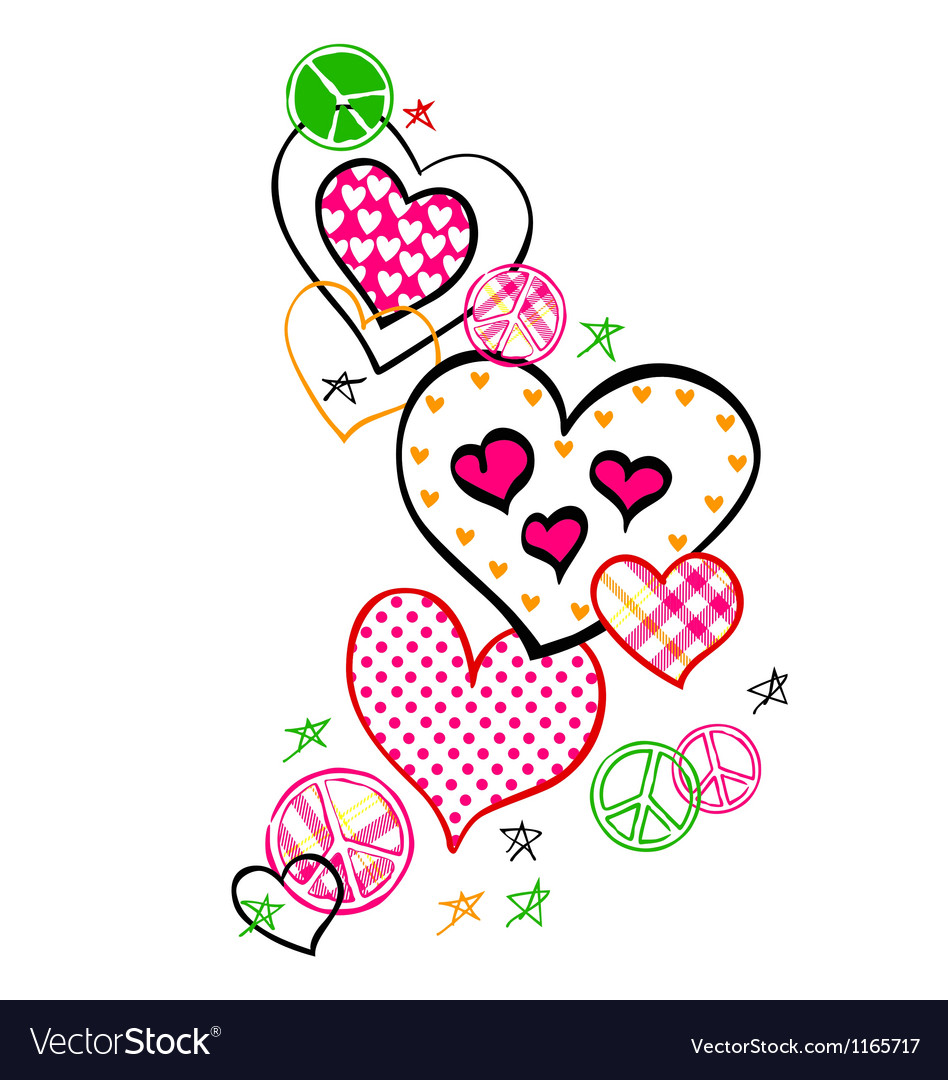 Heart and peace logo vector image