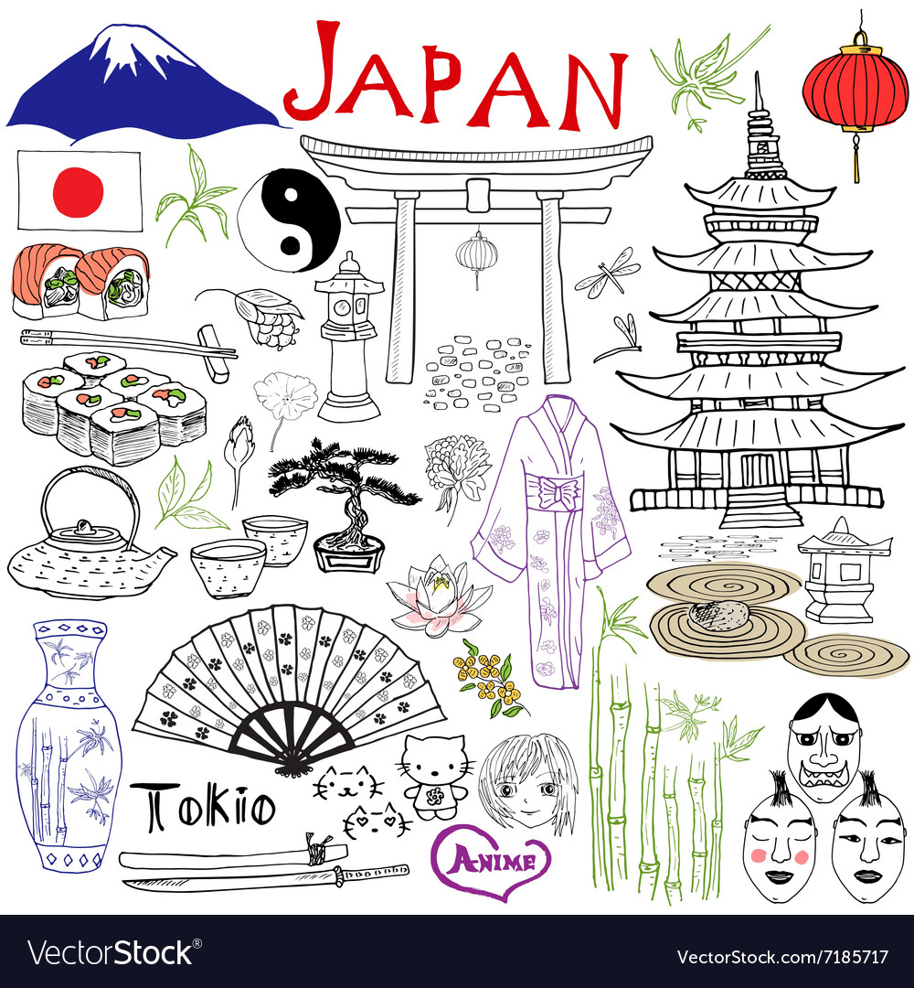 Japan doodles elements Hand drawn set with