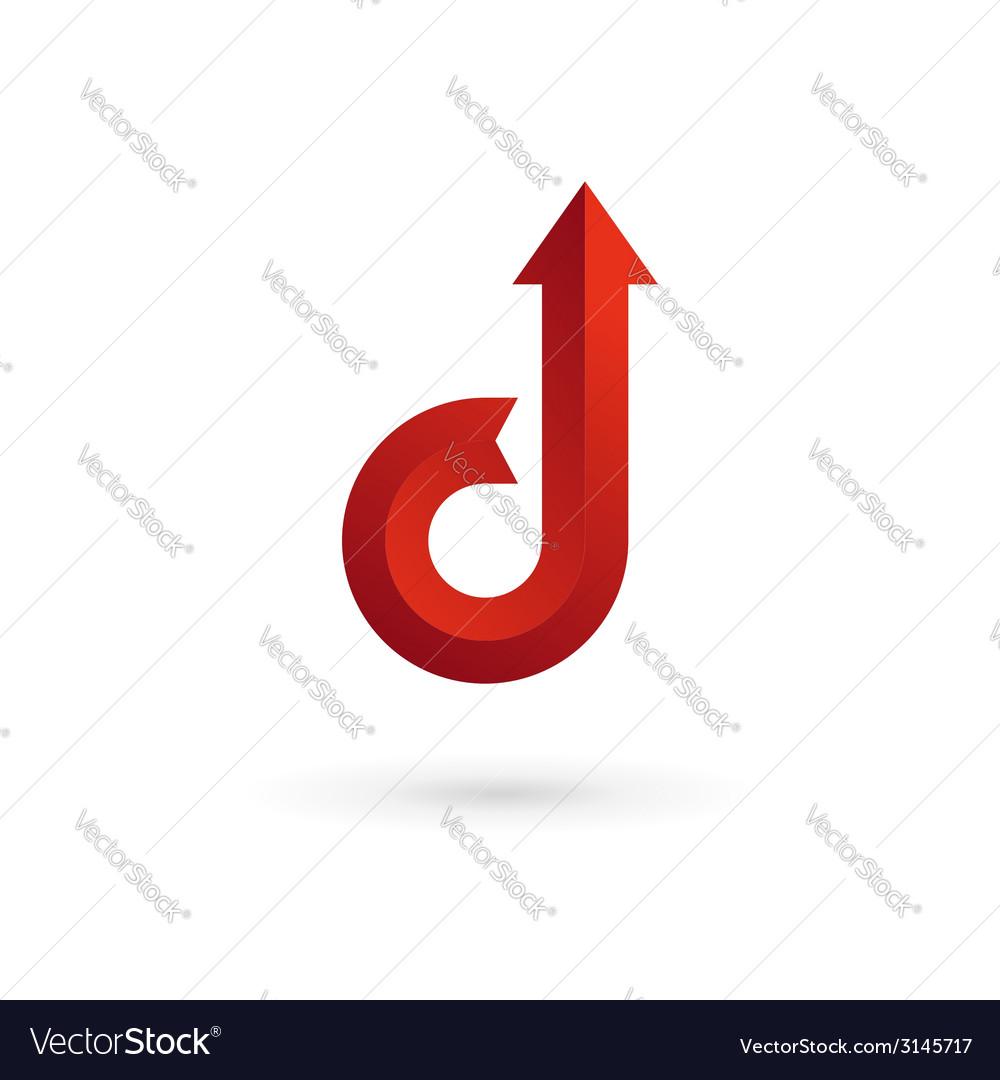 Letter D arrow ribbon logo icon design template vector image