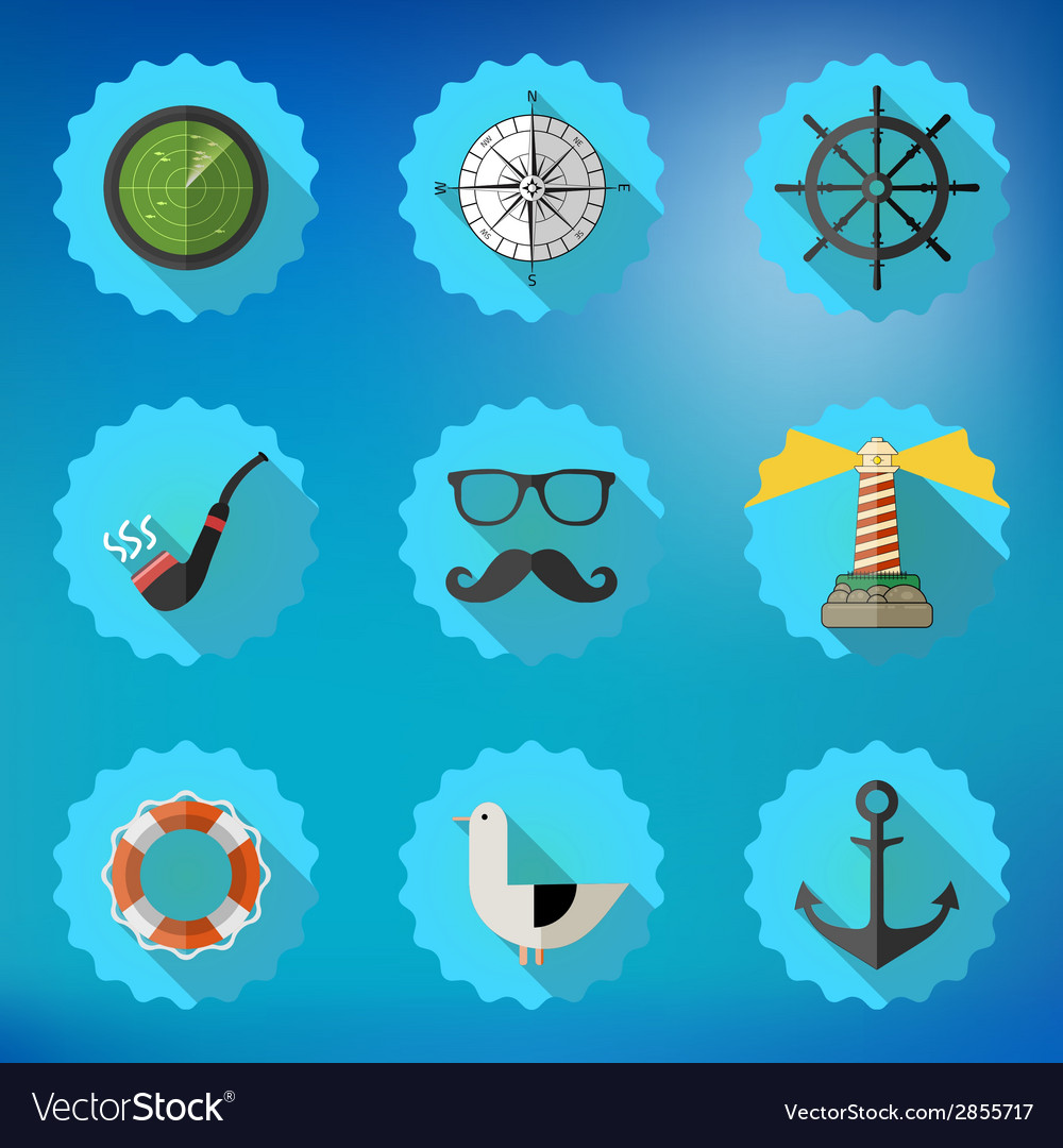 Navy Sailor Marine Flat Icon Set Include fish