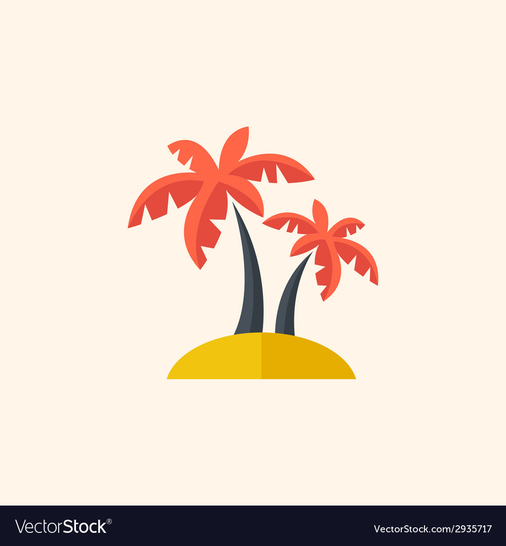 Palm Travel Flat Icon vector image