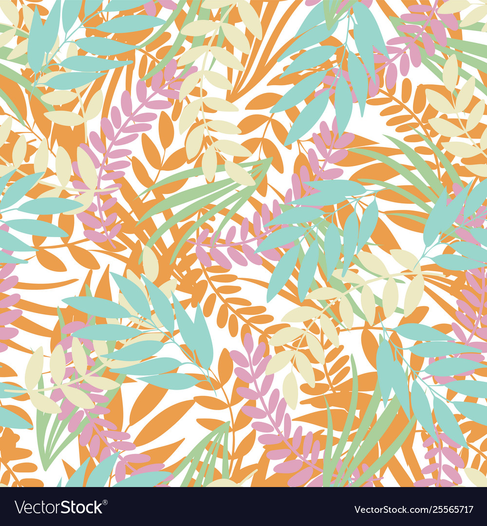 Pastel tropical leaves on white background