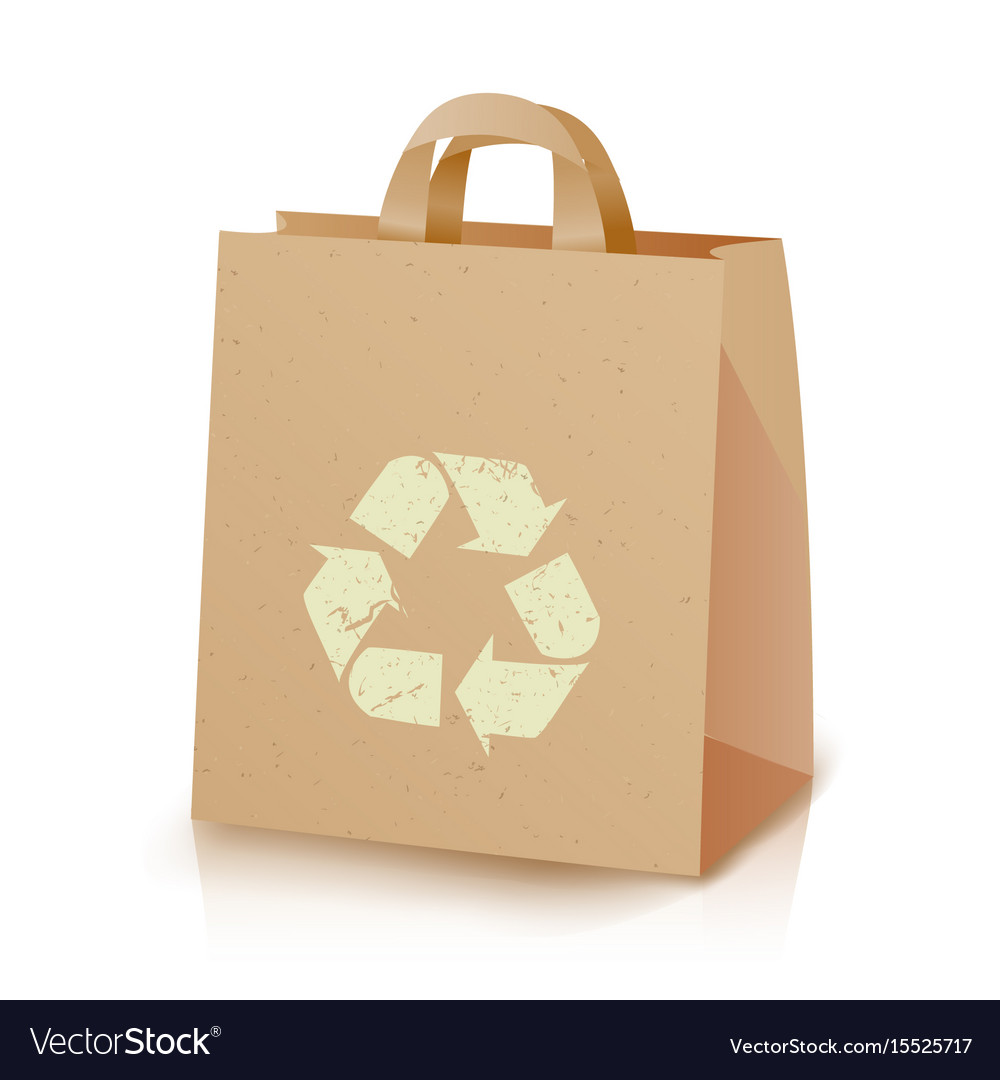 Recycling bag brown paper lunch kraft bag vector image