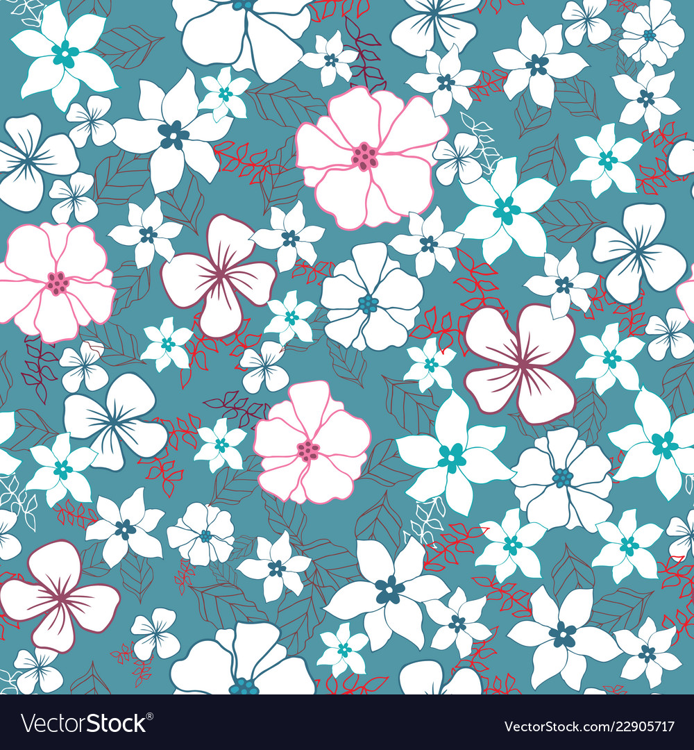 Red and blue flower mix seamless pattern
