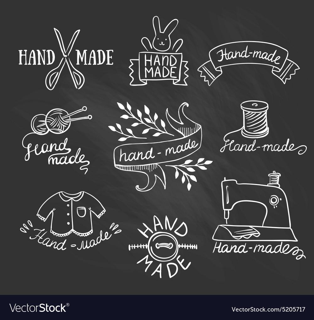 Set of vintage retro knitting badges labels and