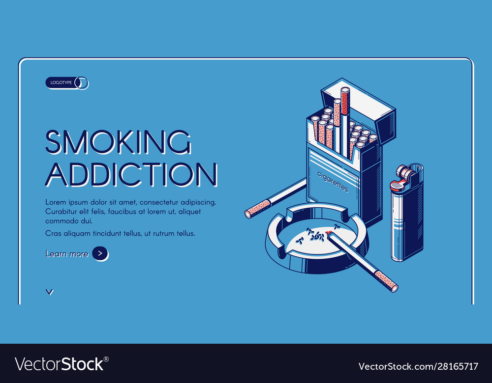 Smoking activity landing banner cigarettes package