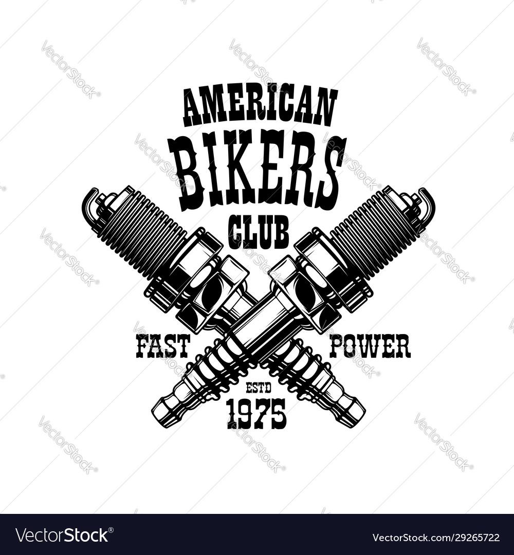 American bikers club badge engine spark plugs
