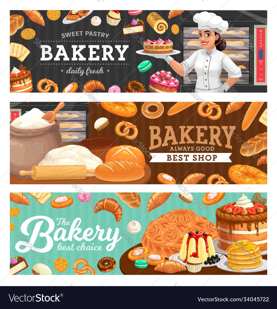 Bakery shop food and baker in toque carton