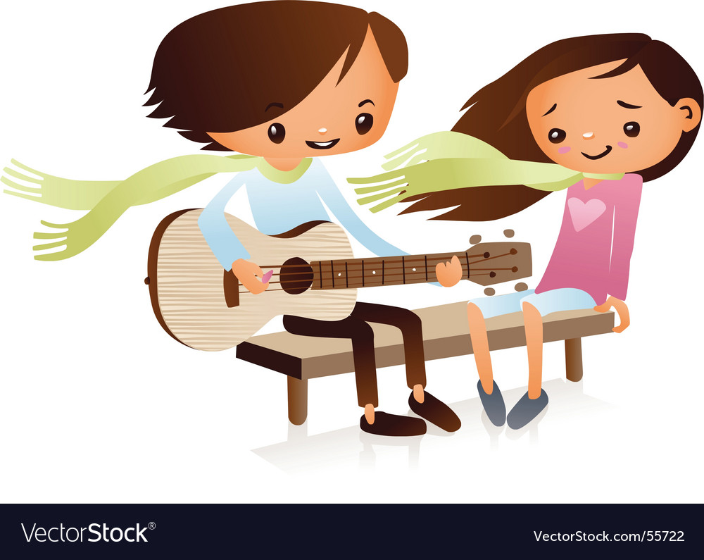 Cartoon guitarist vector image