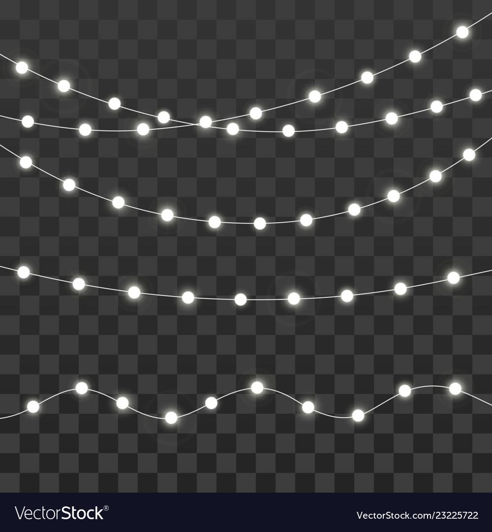 Christmas Lights Xmas Glowing Garland Isolated On