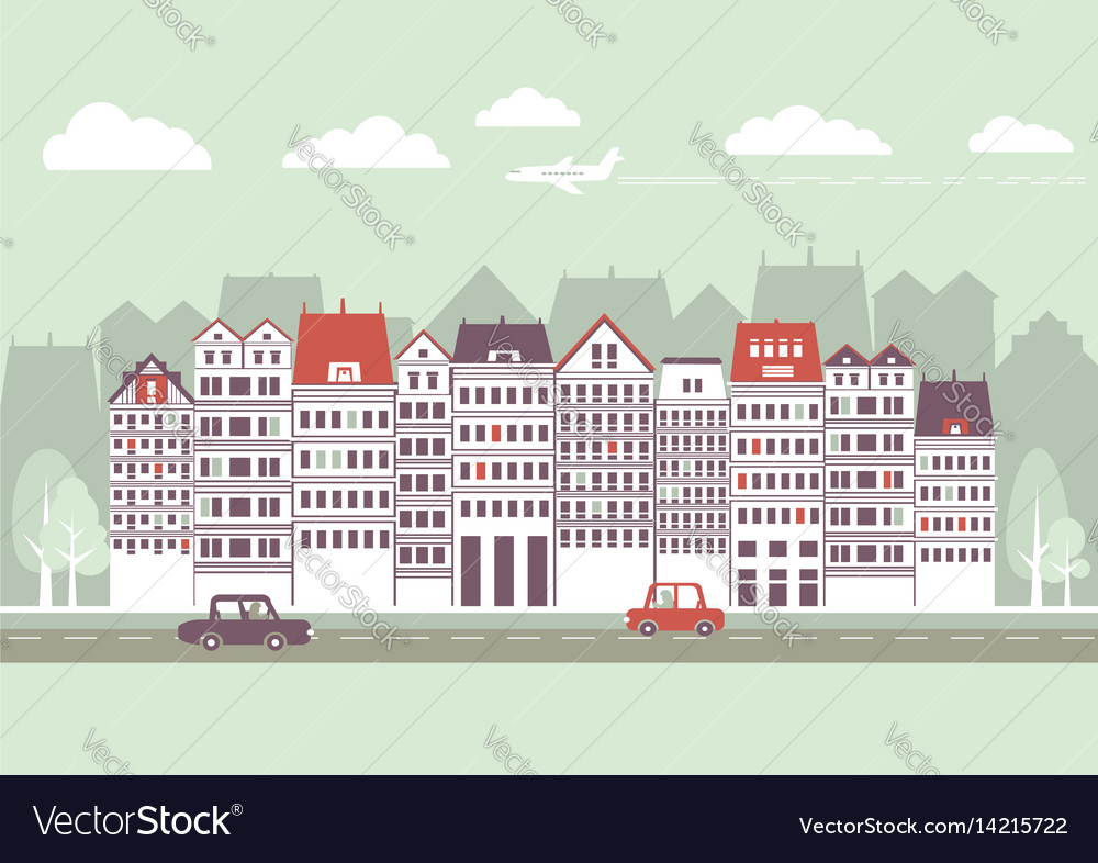 Cityscape with buildings and skypanoramic vector image