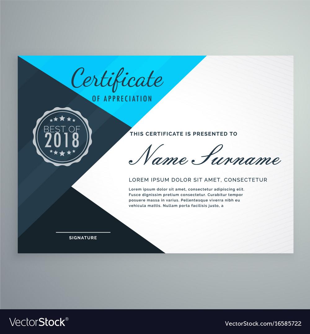 elegant blue diploma certificate design template vector image