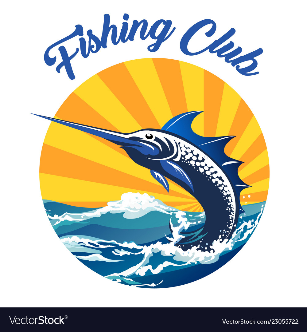 Fishing club colorful emblem