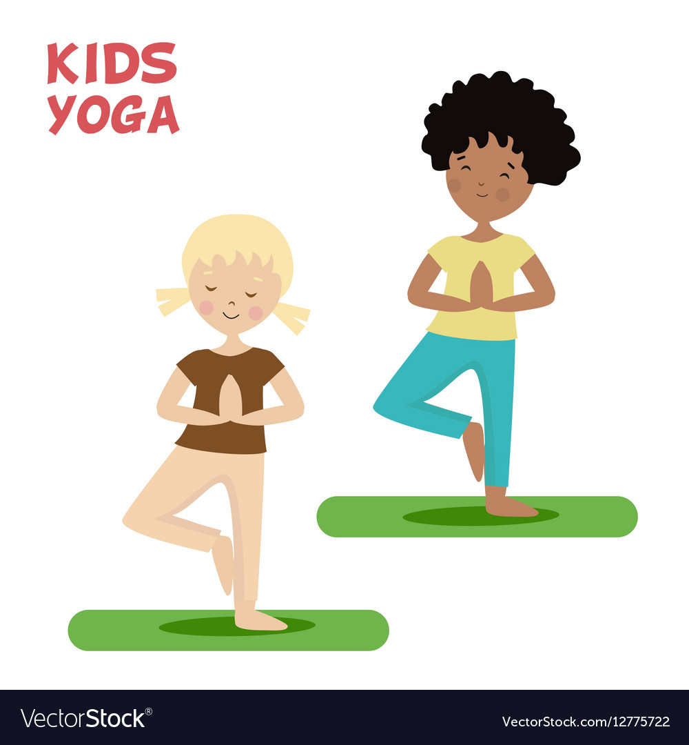 Girl and boy are engaged in a kids yoga Sports or