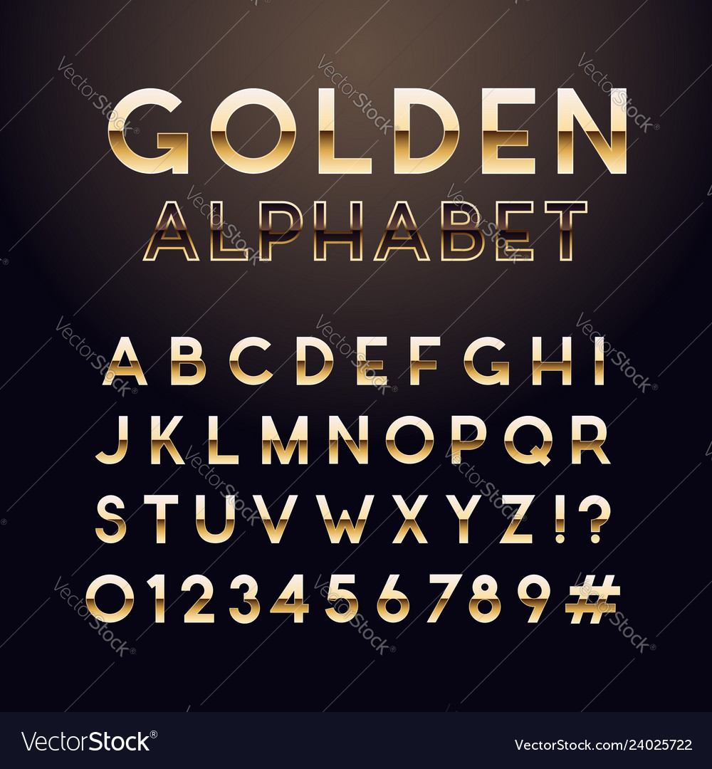 Golden glossy font english alphabet and numbers