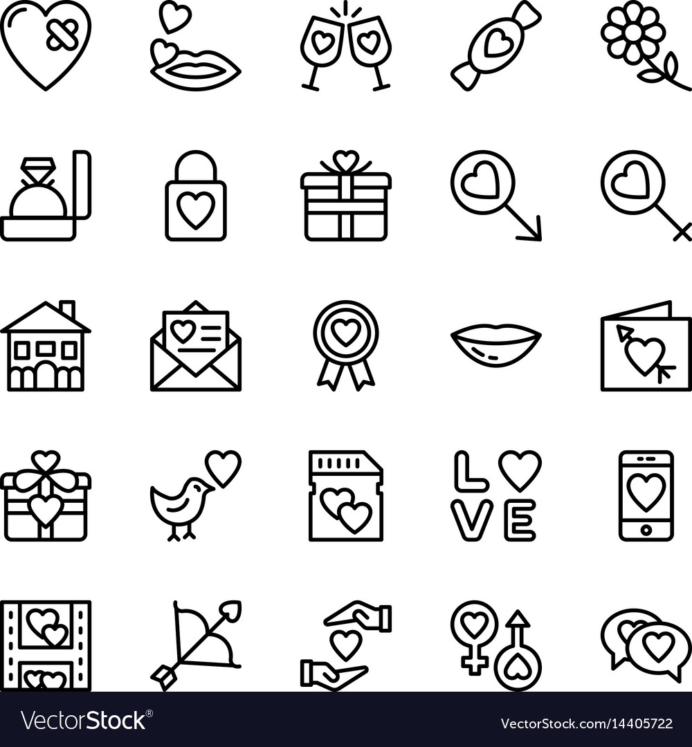 Love and valentine line icons 11 vector image
