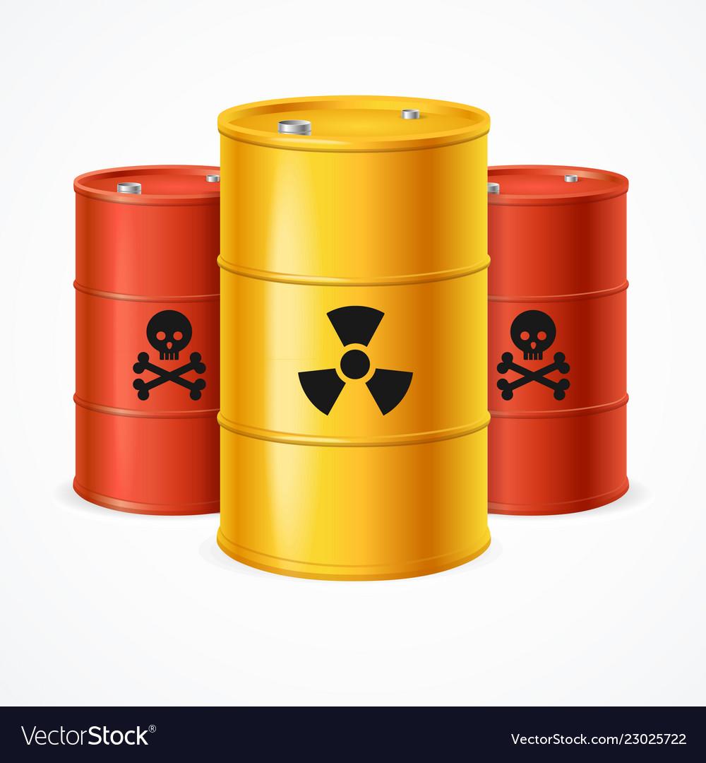 Realistic 3d detailed radioactive waste barrels
