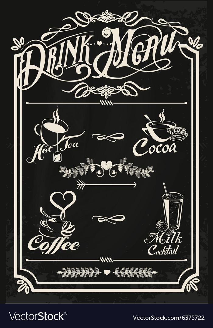 Restaurant drink menu design with chalkboard