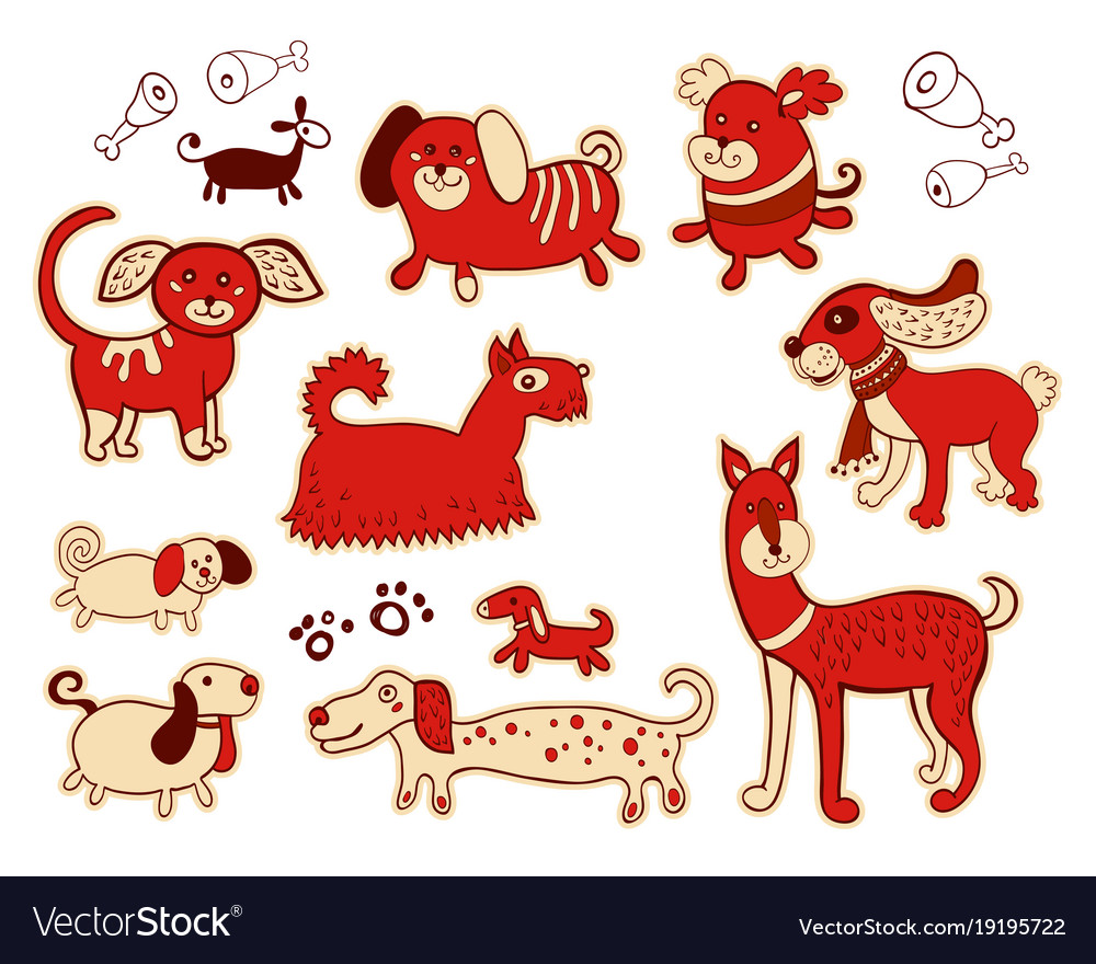 Set of cute childish dog