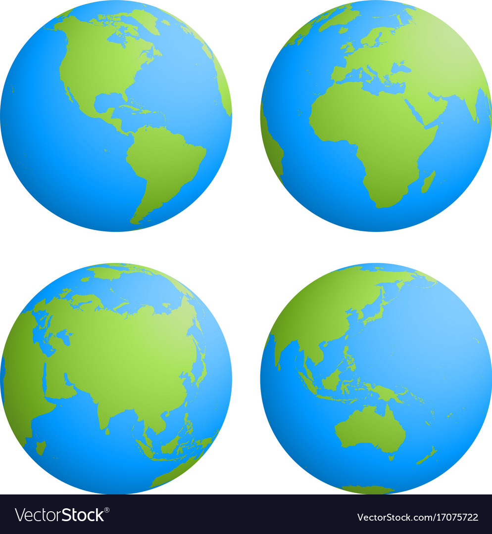 Set of four planet earth globes with green land