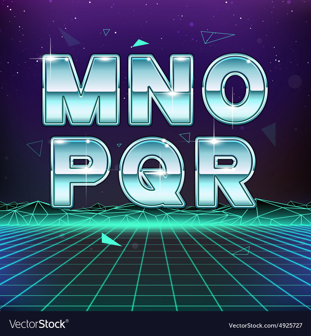 80s Retro Sci-Fi Font from M to R vector image