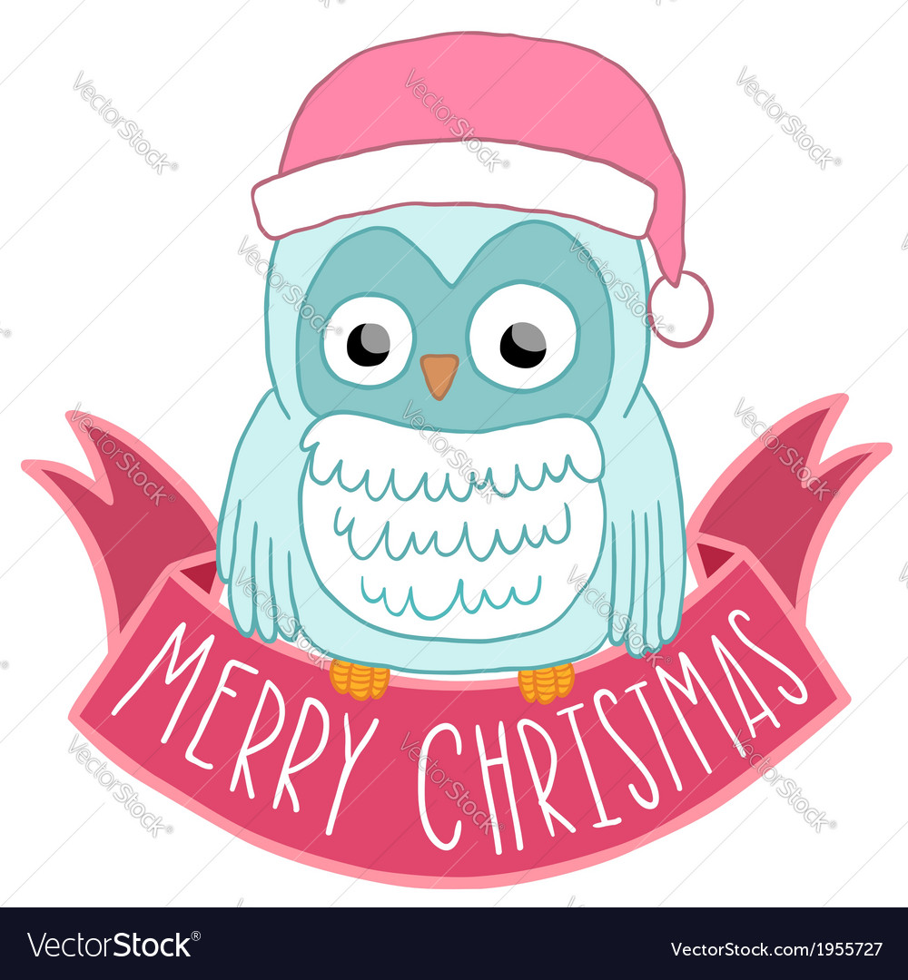 Christmas Owl.Christmas Owl In Santa Hat With Ribbon