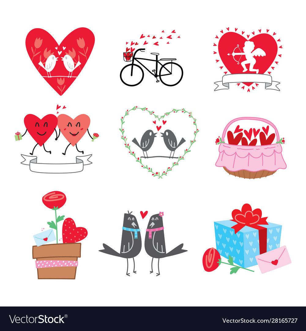 Collection cartoon valentines day